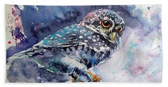 Owl At Night Beach Towel by Kovacs Anna Brigitta