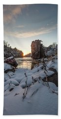 Beach Towel featuring the photograph  Palisades First Snow by Aaron J Groen