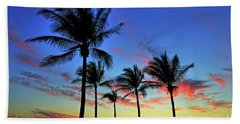 Beach Towel featuring the photograph Palm Tree Skies by Scott Mahon