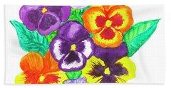Pansies, Watercolour Painting Beach Towel