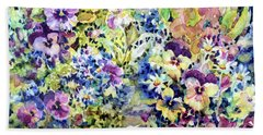 Pansy Path Beach Towel