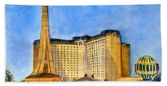 Paris Hotel And Casino Beach Towel by Vicki  Housel