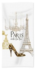 Paris - Ooh La La Fashion Eiffel Tower Chandelier Perfume Bottle Beach Towel