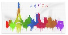 Paris Skyline Beach Towel