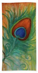 Beach Towel featuring the painting Peacock Feather by Agata Lindquist
