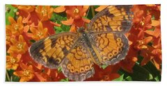 Pearly Crescentspot Butterfly Beach Towel