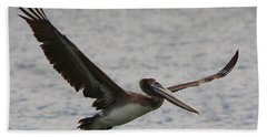 Pelican In Flight Beach Towel