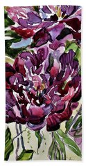 Beach Towel featuring the painting Peonies by Mindy Newman