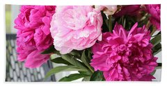 Peonies On The Porch 2 Beach Towel