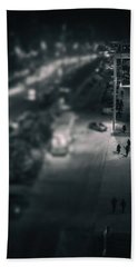 People At Night From Arerial View Beach Towel