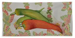 Peppers And Butterflies Beach Towel