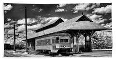 Beach Towel featuring the photograph Philadelphia Trolley by Paul W Faust - Impressions of Light