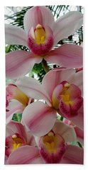 Pink And White Orchids Beach Towel