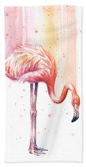 Pink Flamingo - Facing Right Beach Towel