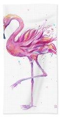 Pink Flamingo Watercolor Beach Towel