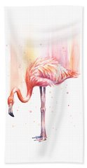 Pink Flamingo Watercolor Rain Beach Sheet by Olga Shvartsur