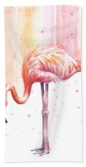 Pink Flamingo Watercolor Rain Beach Towel