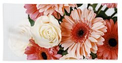 Pink Gerbera Daisy Flowers And White Roses Bouquet Beach Towel by Radu Bercan