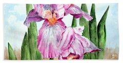 Pink Iris Beach Towel