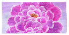 Beach Towel featuring the painting Pink Peony by Sonya Nancy Capling-Bacle