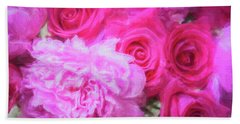 Pink Roses And Peonies Please Beach Towel