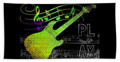 Beach Towel featuring the digital art Play 1 by Guitar Wacky