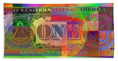 Pop-art Colorized One U. S. Dollar Bill Reverse Beach Towel
