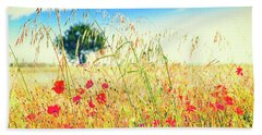 Beach Towel featuring the photograph Poppies With Tree In The Distance by Silvia Ganora