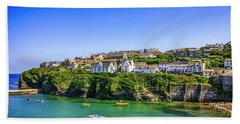 Port Isaac In Cornwall, Uk Beach Towel by Chris Smith