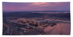 Port Of Seattle Sunrise Beach Towel by Mike Reid