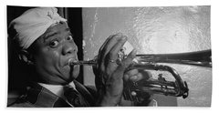 Beach Towel featuring the painting Portrait Of Louis Armstrong by Artistic Panda