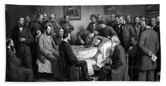 President Lincoln's Deathbed Beach Towel