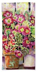 Primroses In Pots Beach Towel