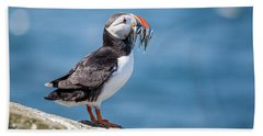 Puffin With Fish For Tea Beach Towel