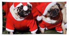 Pugs Dressed As Father Christmas Beach Sheet