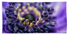 Purple Heart Of A Flower Beach Towel by Patricia Hofmeester