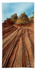 Beach Towel featuring the photograph Red Desert Lines by Mike Dawson