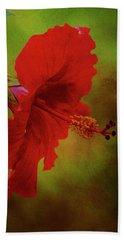 Red Hibiscus Art Beach Towel