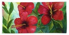 Red Hibiscus Beach Towel