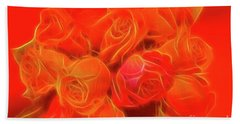 Red On Red Beach Towel by Linda Phelps
