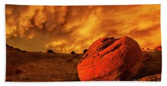 Red Rock Coulee Sunset 3 Beach Towel