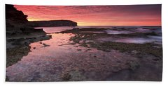 Red Sky At Morning Beach Sheet by Mike  Dawson