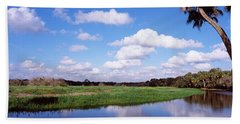 Reflection Of Clouds In A River, Myakka Beach Towel by Panoramic Images