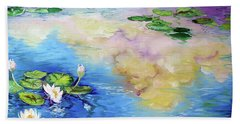 Reflections On A Waterlily Pond Beach Towel