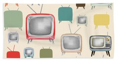 retro TV pattern  Beach Sheet