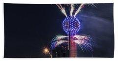 Reunion Tower Fireworks Beach Towel