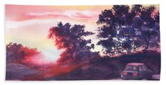 Road To Fargo Beach Towel by Marilyn Jacobson
