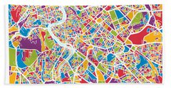 Rome Italy Street Map Beach Towel