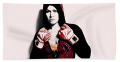 Ronda Rousey Here We Go  Beach Towel by Brian Reaves