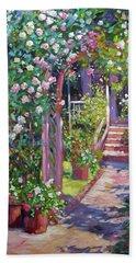 Rose Cottage Gate Beach Towel